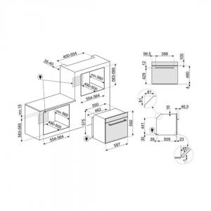 Mides del forn elèctric Smeg SF64M3VX Acer inoxidable i 60cm